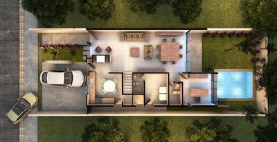 privada modelo residencial Arborettos Modelo Olmo planta arquitectonica
