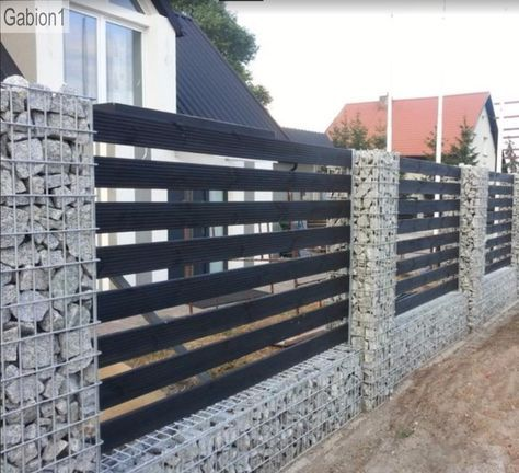 A gabion fence is a wall made by stacked stone-filled gabions tied with different designs; gabion fence is simple and low cost. To see more design explore the images below.