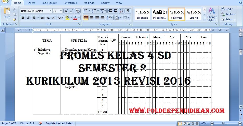 PROMES Kelas 4 SD Semester 2 Kurikulum 2013 Revisi 2016