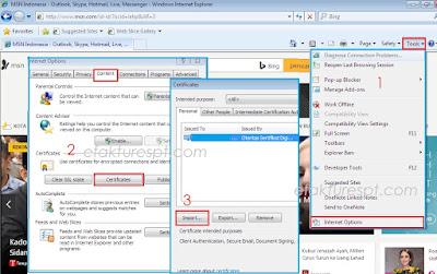 Cara Instal Sertifikat Elektronik di Internet Explorer