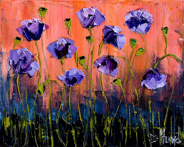 Purple Poppies Art Floral Painting Flower Paintings Texture by Debra Hurd