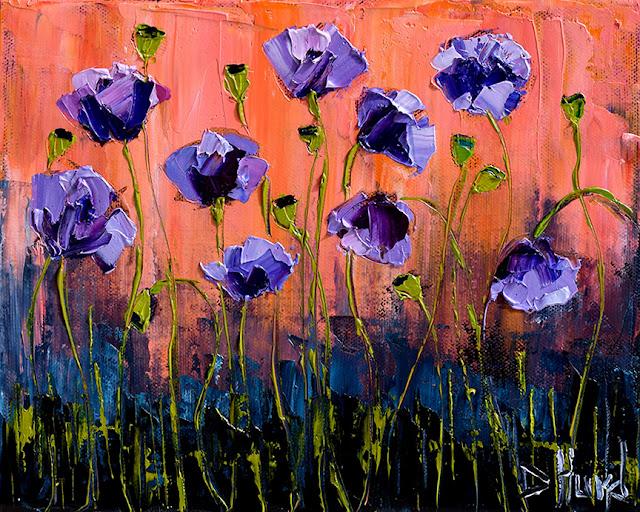 Purple Poppies Art Floral Painting Flower Paintings Texture by Debra Hurd