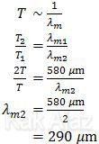Perbandingan antara suhu benda dengan panjang gelombang pada intensitas maksimum, hukum pergeseran Wien