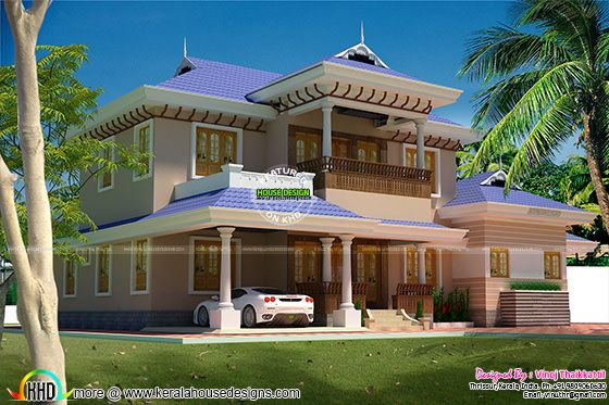 5 bed room Kerala Traditional Design villa
