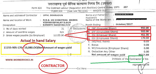 UPNAL Contract Worker Salary slip 2017