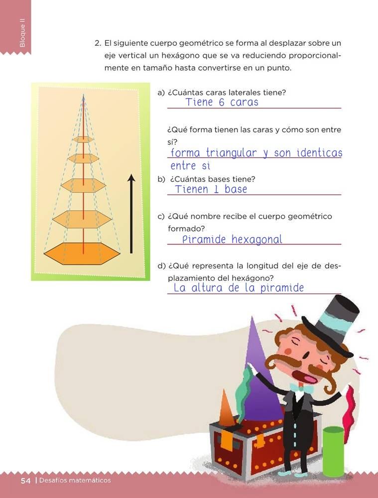 Libro de textoDesafíos MatemáticosDesplazamientosSexto gradoContestado pagina 54
