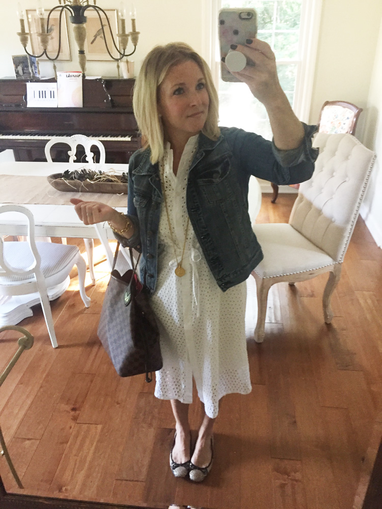 lace white dress with denim jacket and ballet flats