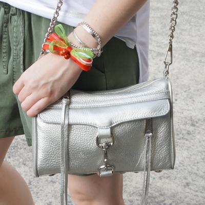 Christmas bow bracelet stack, Rebecca Minkoff metallic silver mini MAC | awayfromtheblue