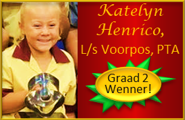 Raakpraat-Redenaars is baie trots op klein Katelyn Henrico wat by L/s Voorpos, Pretoria as Graad wenner vir Graad 2 uitblink met die aanbieding van haar redenaarstoesprakie!