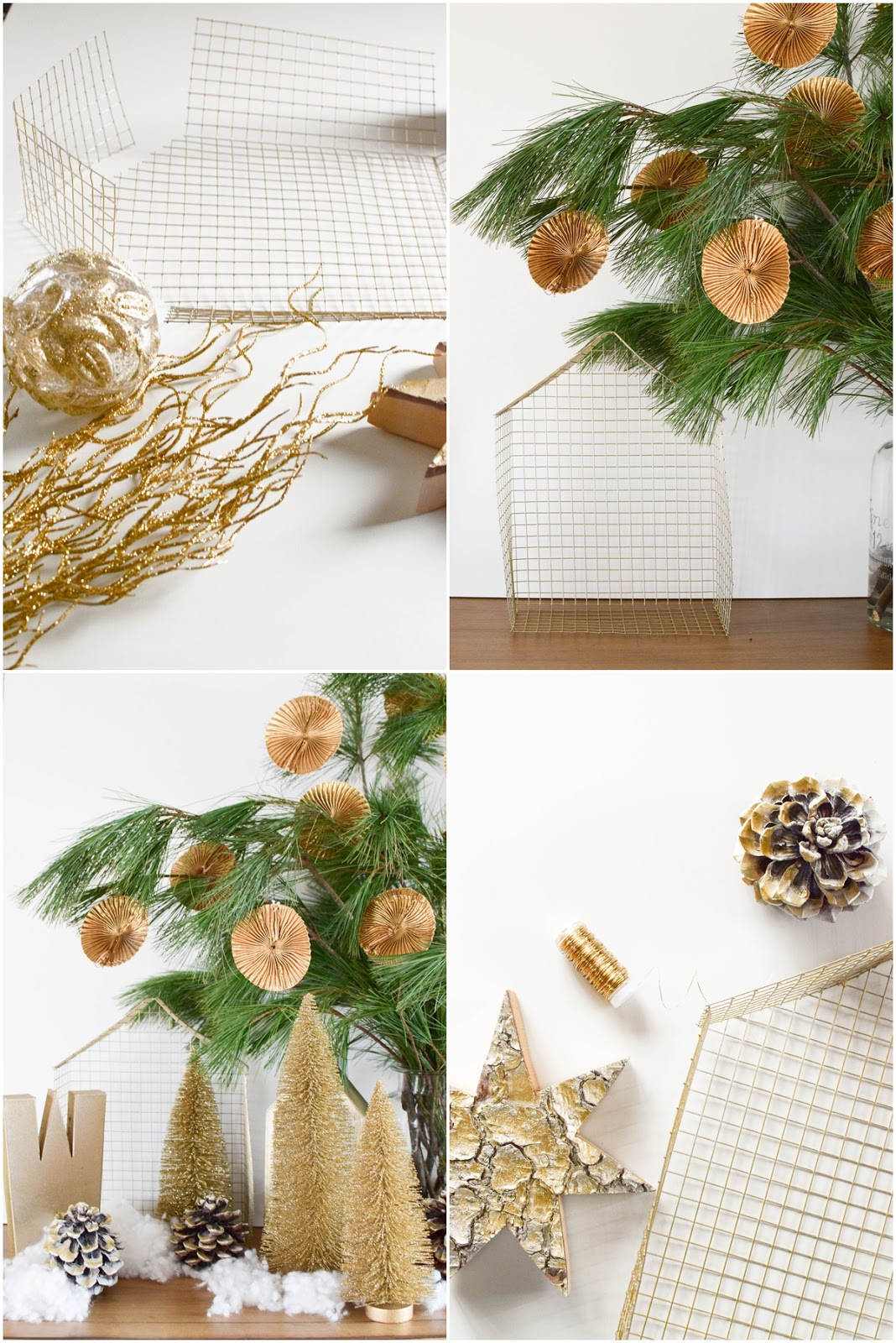 Dekoidee Weihachten: DIY Drahthaus mit Zapfen, Tannen, Weihnachtsbäumen und Kiefer, weihnachtlich Sideboard, Dekoration, Deko, Buch Naturliebe