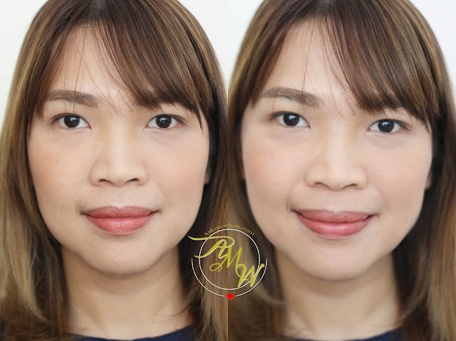 a before and after photo of Catrice Healthy Look Mattifying Powder Translucent 010 Luminous Light Review
