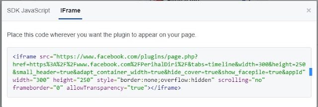 Pilih kode ifarme untuk memasang di blog