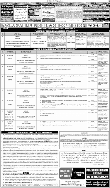PPSC Latest Jobs February 2019 | PPSC Advertisement No. 03/2019 | Online Registration