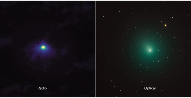 Side-by-side comparison shows an ALMA image of comet 46P/Wirtanen (left) and an optical image (right). The ALMA image has approximately 1000 times the resolution of the optical image and zooms in on the inner portion of the comet's diffuse coma. Credit: ALMA (ESO/NAOJ/NRAO), M. Cordiner, NASA/CUA; Derek Demeter, Emil Buehler Planetarium