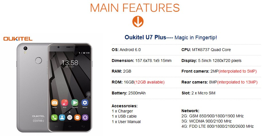Oukitel U7 Plus 5 5 Inch HD Screen Smartphone 2GB RAM+16GB