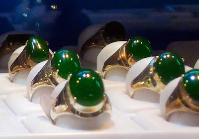 elegant jadeite cabochon rings in gold setting