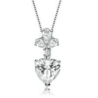 Rozzato .925 Silver Clear Heart and Pear Round Cubic Zirconia Accent Necklace