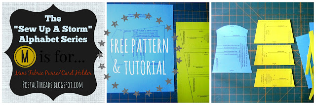 Free Pattern & Tutorial by PostalThreads.blogspot.com for Mini Fabric Purse/Card Holder