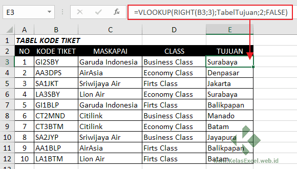 Rumus Vlookup-Right Excel