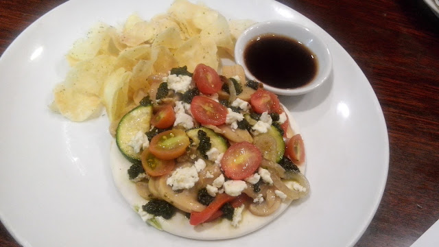 dome, Vegetarian Sandwich Php 340 Open faced sandwich on pizza bread with roasted vegetables (tomato, onion, zucchini,  bell pepper and mushrooms) drizzled with basil pesto and feta cheese. Served with sweet potato chips.