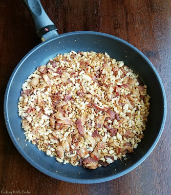 swiss diamond skillet with bacon and bread crumbs in it