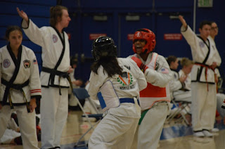 Taekwondo ladies free sparring at 28th DMAC
