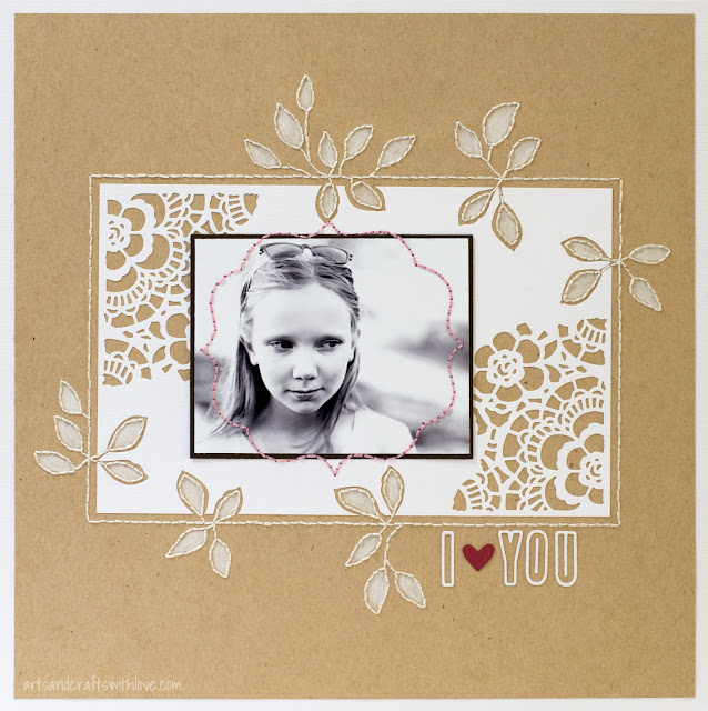 Scrapbooking Layout with die-cut and hand-sewn embellishments