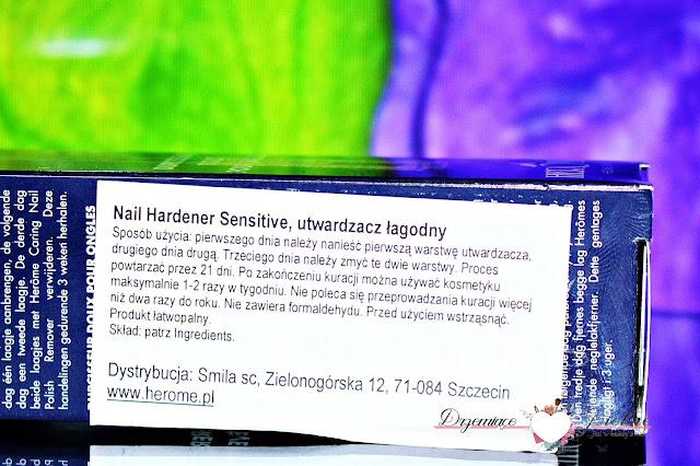 Herome, Nail Hardener Sensitive. Odżywka, utwardzacz - 21 dniowa kuracja | Opis działania + instrukcja stosowania