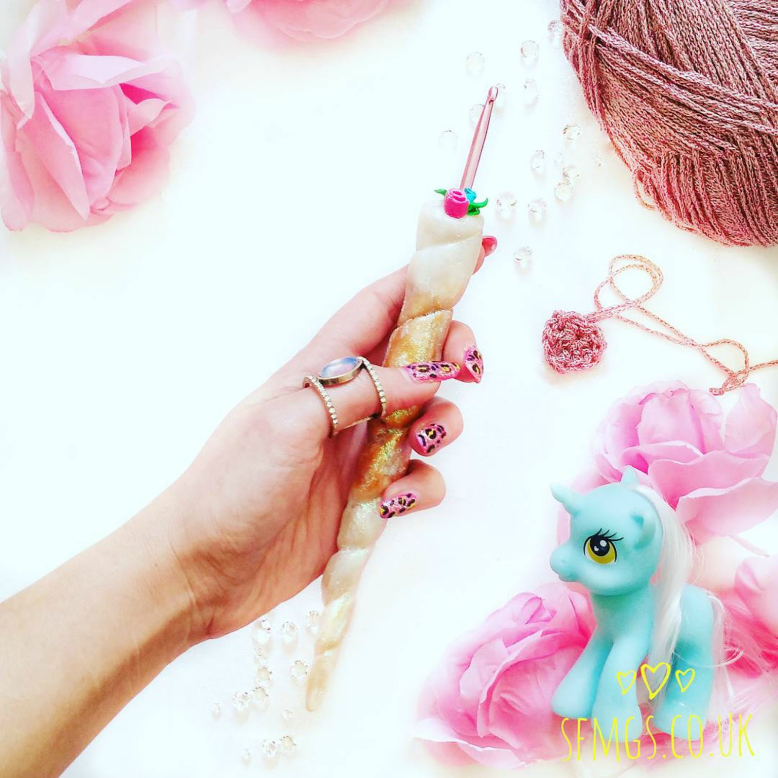 unicorn horn crochet hook gift crocheter crocheting gift shop buy glitter ergonomic polymer clay fimo