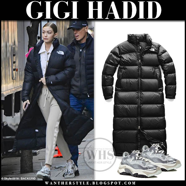 Gigi Hadid in black puffer north face long parka and ash sneakers winter celebrity style january 11