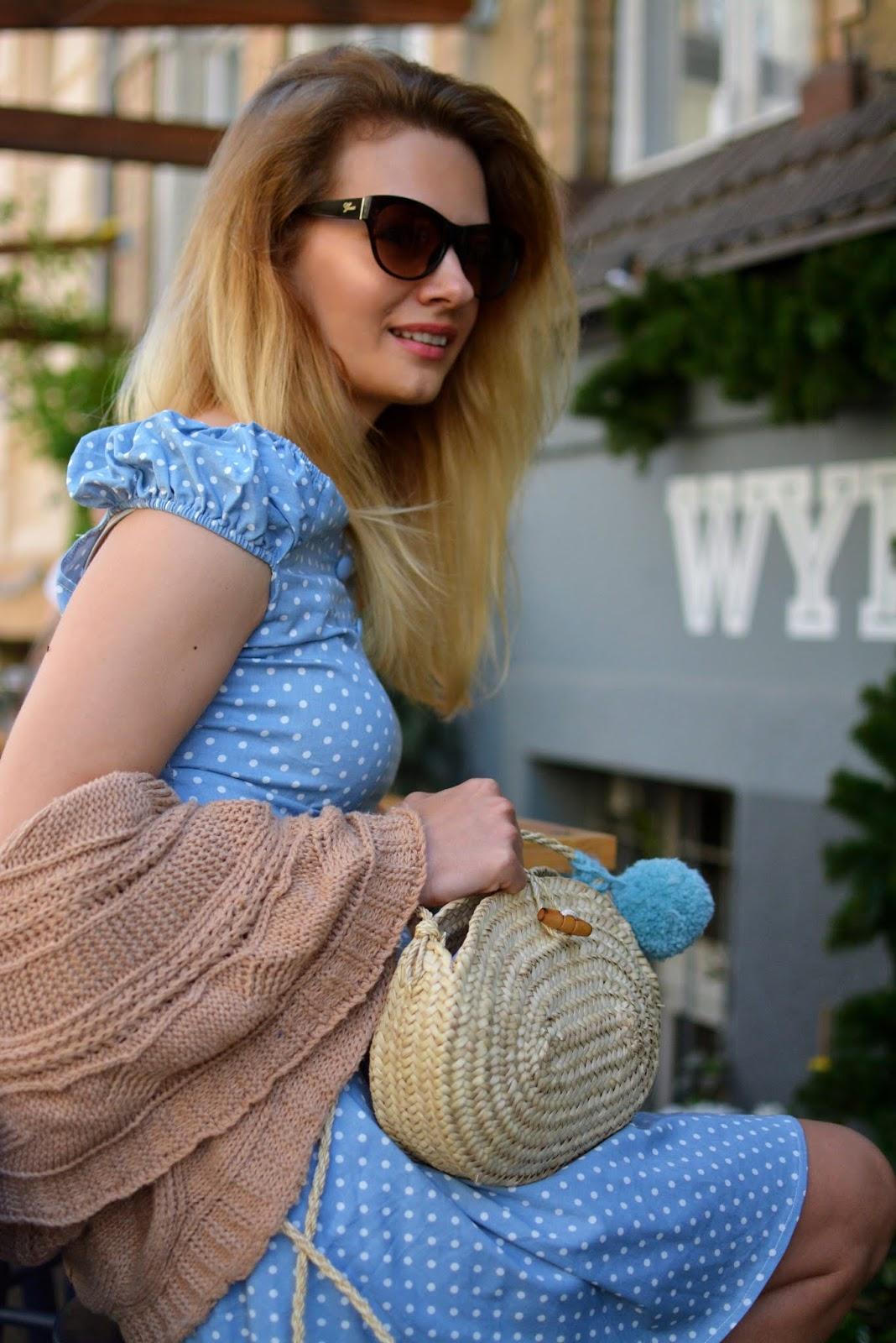 kamila libelula, kamila fleszar, sukienka w groszki, kardigan, poznan, stylizacja, bloger, jesien, blog, libelula, koszyk, torebka pleciona