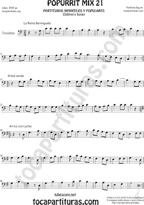Partitura de Trombón y Bombardino La Reina Berenguela, Árbol Verde y Arroz con Leche Sheet Music for Mix 21 Trombone and Euphonium Music Scores