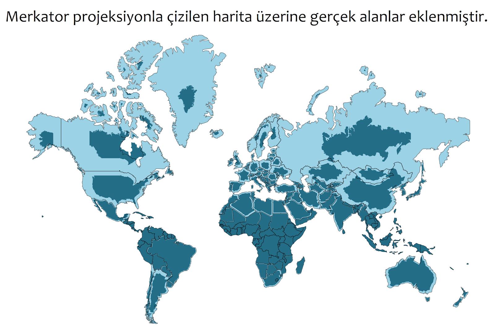 Dünya karalarının Merkator projeksiyon (açık mavi) ile gerçek alan (koyu mavi) kıyaslaması