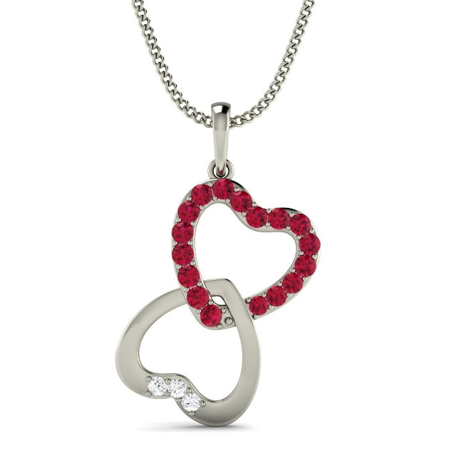 Hearts Mingling Diamond and Ruby Pendant by Velvetcase.com