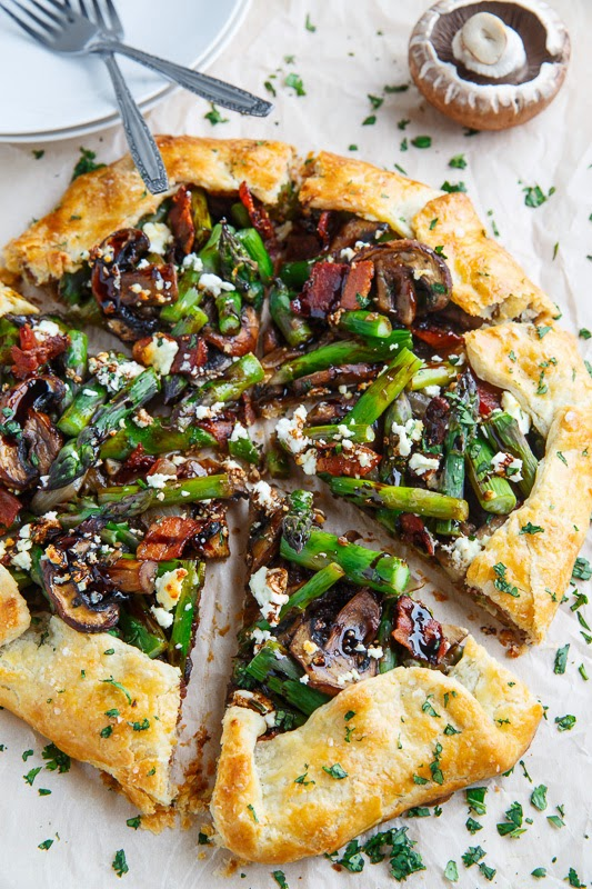 Asparagus and Mushroom Galette with Bacon, Goat Cheese and Balsamic Reduction Recipe