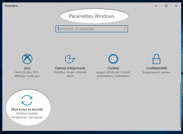 خيار التحديثات والأمان Mises à jour et sécurité في اعداد ويندوز10