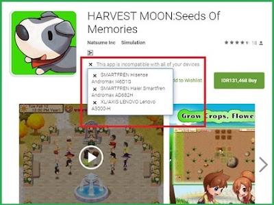 Masalah Smartphone Android Tidak Kompetibel untuk Main Harvest Moon Seeds of Memories
