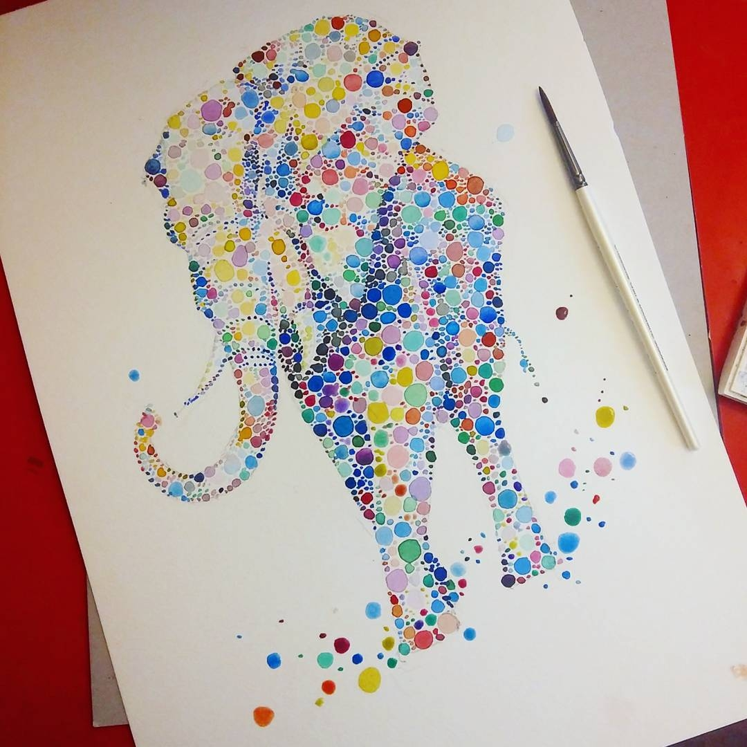 07-Elephant-Ana-Enshina-anaensh-Dot-and-Circle-Animal-Paintings-Ishihara-Test-www-designstack-co