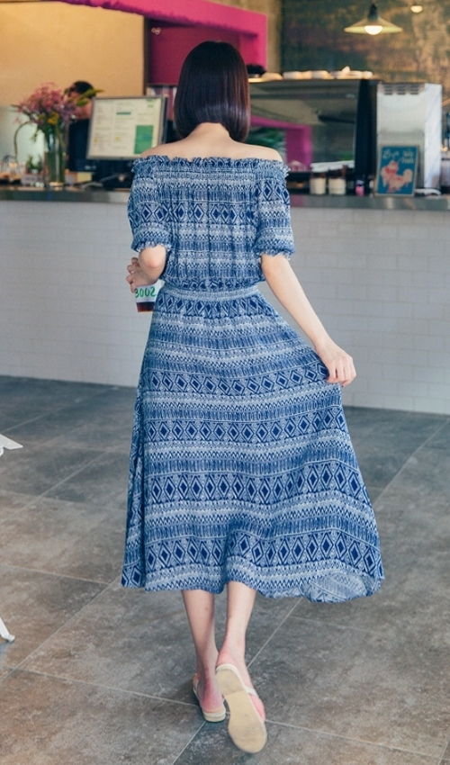 Ethnic Print Bardot Dress