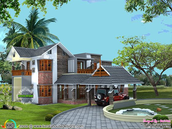 Sloping roof home in 2615 sq-ft