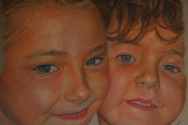 Retrato de dos niñas de cerca