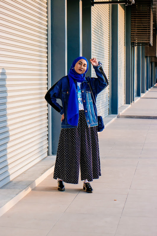 Two-Tone Oversized Denim Jacket & Polka Dots Wide Culottes