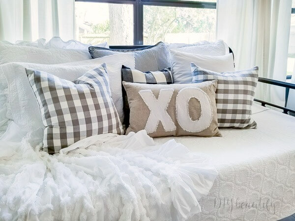 DIY Valentine's pillow with drop cloth