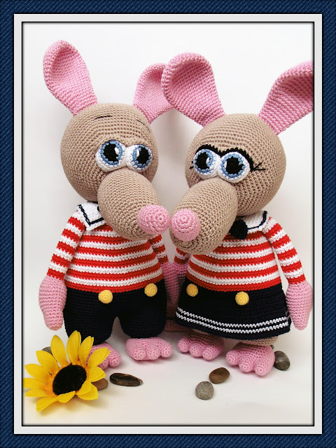 #amigurumi#crochet#rat#boy#girl#soft#toy#sailor#costume#rott#plika#poiss#heegeldatud#meremees