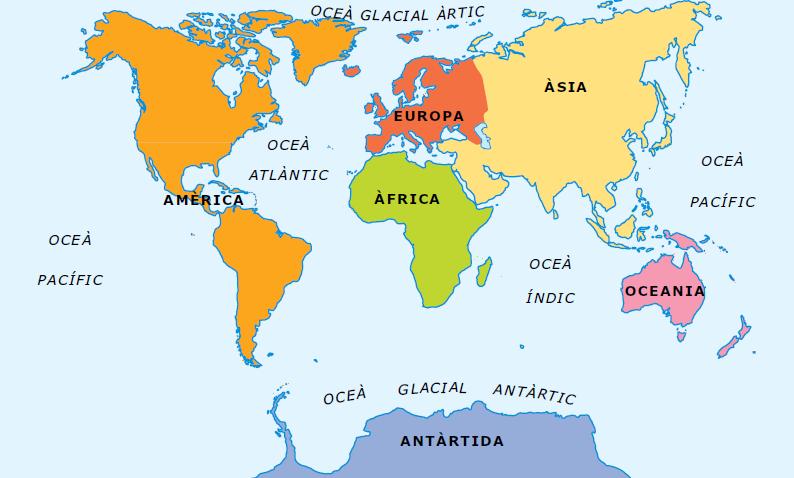 Resultado de imagen de mapa continents i oceans