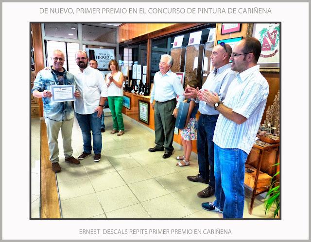 CARIÑENA-PINTURA-CONCURSO-ZARAGOZA-ARAGON-ESPAÑA-PRIMER-PREMIO-ALCALDE-BODEGAS-SOLAR DE URBEZO-FOTOS-ARTISTA-PINTOR-ERNEST DESCALS-