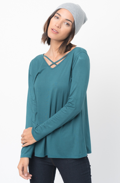 Buy Now Cross Front Jersey Tunic @caralase.com
