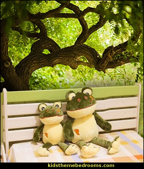 frog plush toys  frog theme bedrooms - frog bedroom decor - frog theme decor - frog bedding - frog themed gifts - froggy wallpaper frog murals - frog wall decals - frogs in a pond wall decor -  Frog Prince decor - pond theme decals - frog duvet set - decorating frog theme - frog theme for baby nursery - frog pond baby nursery - frog pond playroom furniture