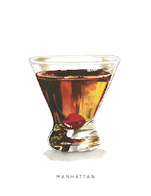 Cheryl Oz Designs Manhattan Midcentury Cocktail Series Watercolor Illustration