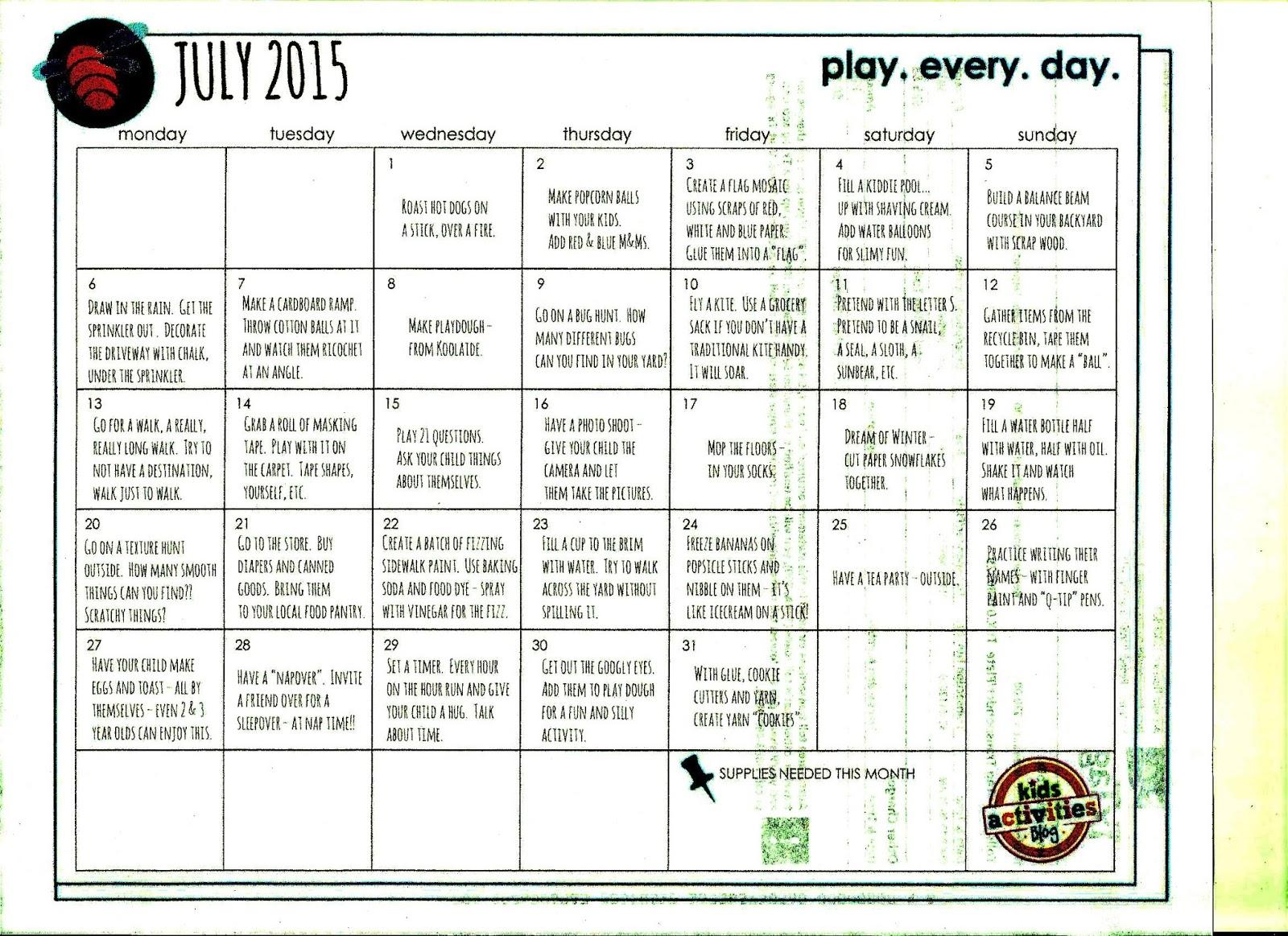 Kindergarten And Mooneyisms July Play Calendar